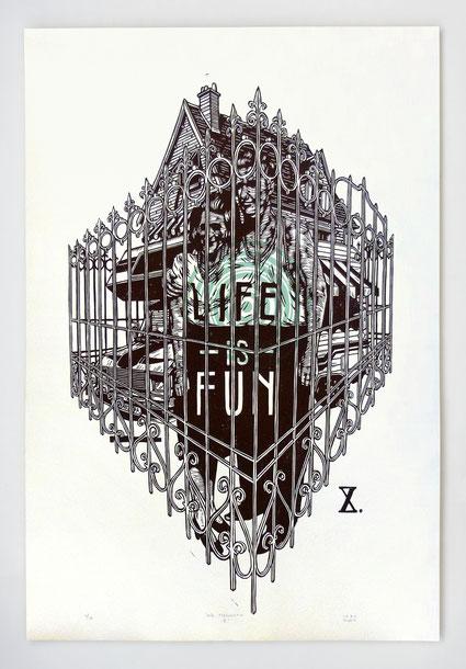 """""""AUTO-PERSUASION X"""" /Linogravure 76x56cm (15 ex.)"""