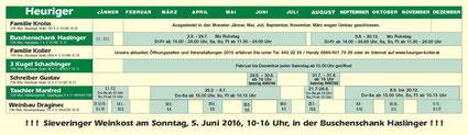 Sieveringer Heurigenkalender 2016