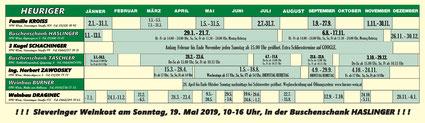 Sieveringer Heurigenkalender 2019