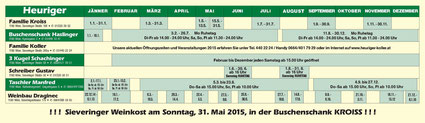 Sieveringer Heurigenkalender 2015