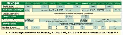 Sieveringer Heurigenkalender 2018