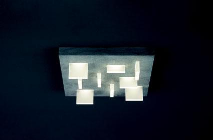Sharp ist eine Quadratische Deckenleuchte auf dem Bild in Betonoptik mit Acrylglas zu sehen