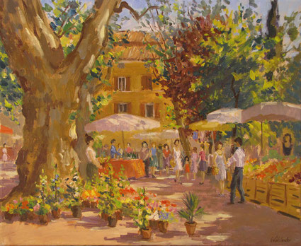 Tony Wahlander (Wåhlander) en Provence le marché du dimanche