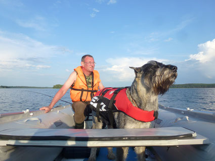 Pavel and Harley, lake Seliger, July 2014