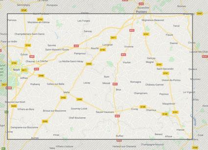 zone d'intervention des Menuiseries Lethu sur le 79, 86 et 16