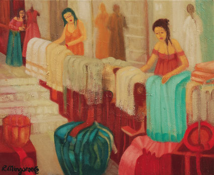 Trabajan sin descanso por mantener el taller funcionando - 46 x 38 cm - óleo/lienzo Guillermo R. Mingorance
