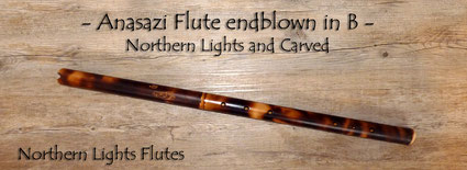 Anasazi Flute endblown - Northern Lights and Carved - Bambusflötenbau Jürgen Hochfeld