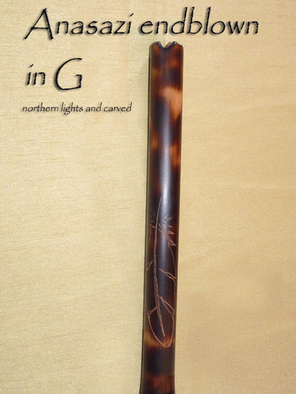 Anasazi Flute endblown in G Northern Lights and Carved