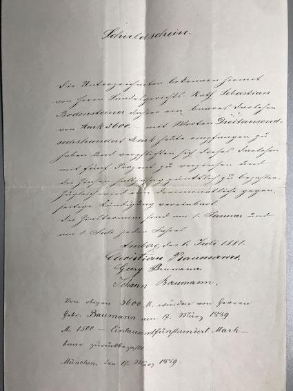 Schuldschein von 1.7.1881 [11]