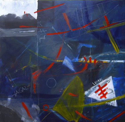 LUCIANA ANELLI- Sky war. cm 100x100 olio su tela
