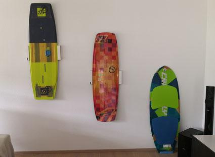 Wandhalterung Wandmontage Wakeboard horizontal vertikal Halterung wall mount Kiteboard