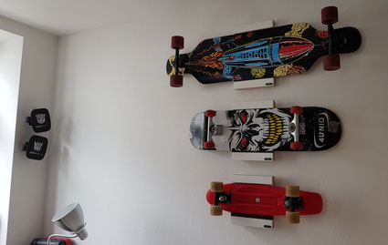 Wandhalterung Wandmontage Longboard diagonal horizontal vertikal Halterung wall mount Skateboard