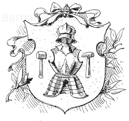 """Das Wappen der Nürnberger Plattner von 1524. Nach A. Grensers """"Zunftwappen""""."""
