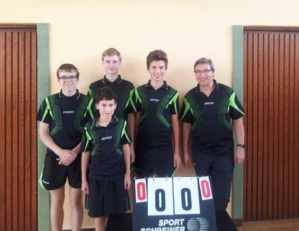 v.l.n.r.: Jerry Dorp, Roman Sani (vorn), Niklas Bockshecker (hinten), Vincent Schneider und Frank Ortmeier (Betreuer)