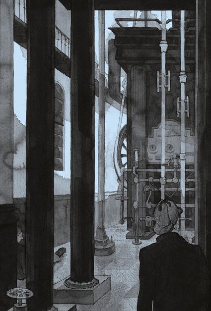 Ammonite Press; Illustration; Tobias Willa; Sherlock Holmes Escape Book; Lewes; Puzzle Book; thrilling; Rätselbuch; Spannung; Ormond Sacker; Heel Verlag; Das Escape Buch; London Museum of Water and Steam; Maudslay Engine; Office; Riddle; Hidden number;