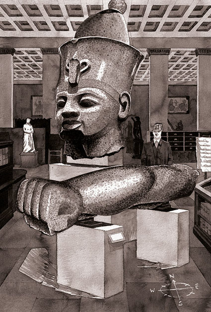 Amenhotep III; British Museum; The Sherlock Holmes Escape Book: The Adventure of the British Museum; Ammonite Press; Tobias Willa; Illustration; Basel; London; Chinatusche; Ink; Drawing; Arm; Riddle; Puzzle; Mystery; Egypt; Gallery;