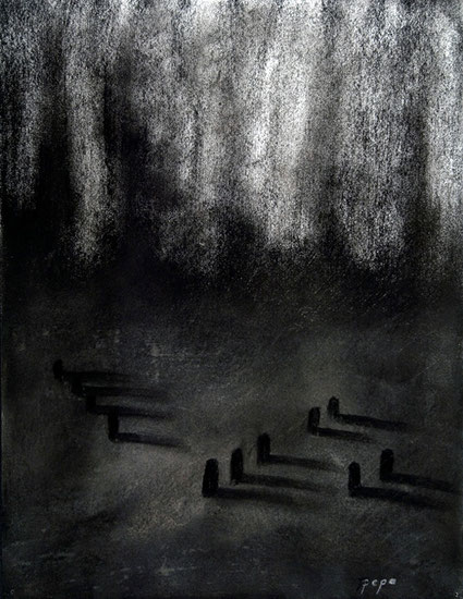Cementerio 6, 2006 carboncillo 35X28 cm