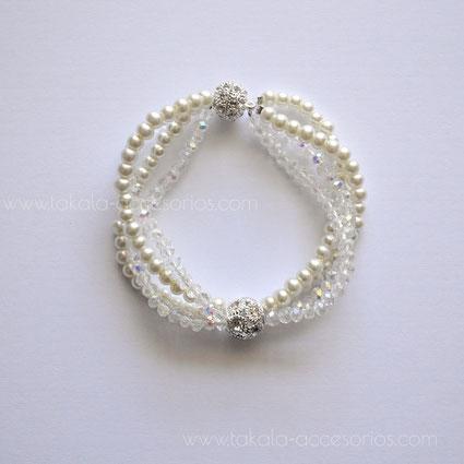 pulsera novia cinco vueltas perlas cristales