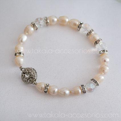 pulsera novia perlas de rio