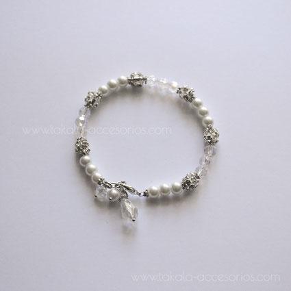pulsera novia cristales perlas y strass