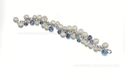 pulsera novia dijes perlas cristales