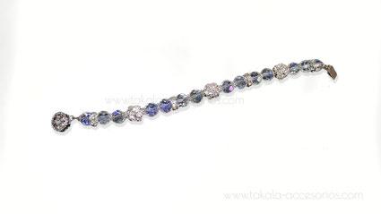pulsera novia cristales y strass