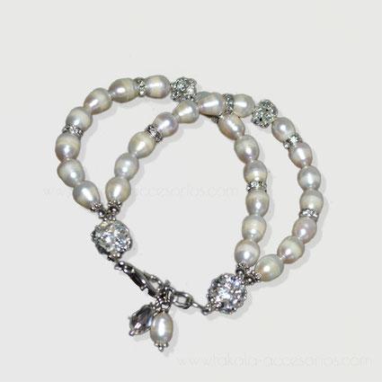 pulsera de novia con perlas de rio de dos vueltas