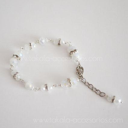 pulsera de novia de cristales y strass