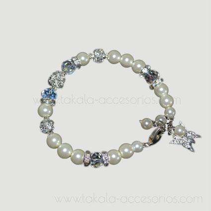 pulsera novia perlas cristales strass
