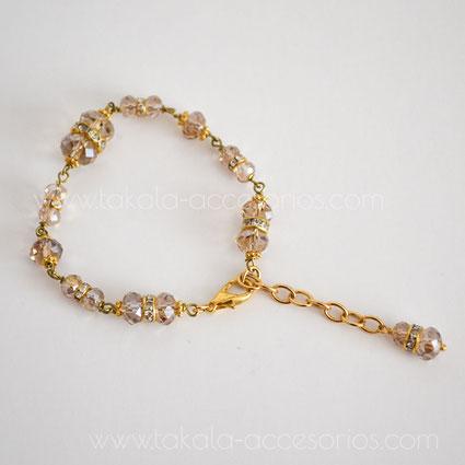 pulsera de novia dorada con cristales