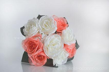 ramo novia artesanal, rosas de tela, flores de tela, ramo de tela