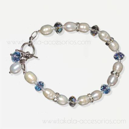 pulsera novia perlas rio cristales