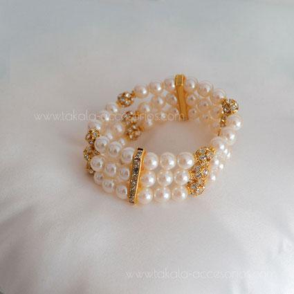 pulsera novia tres vueltas perlas strass