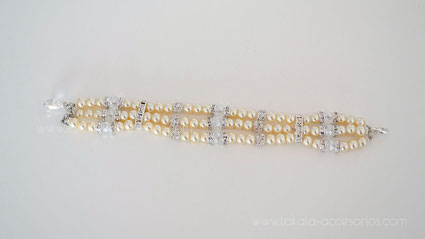 pulsera tres vueltas perlas cristales