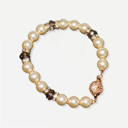 pulsera novia dorada perlas cristales y strass