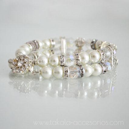 pulsera de novia de dos vueltas con perlas y strass