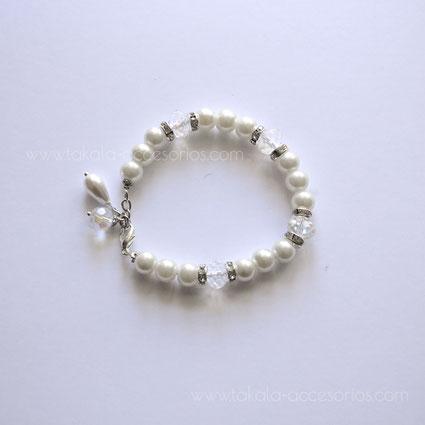 pulsera de novia con perlas y cristales