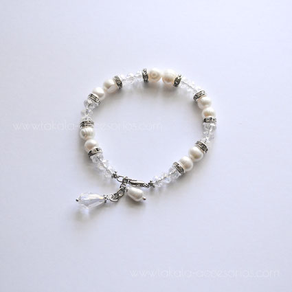 pulsera novia perlas rio cristales strass