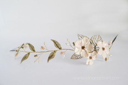 vincha de novia, vincha de hojas, vincha de porcelana, vincha de flores