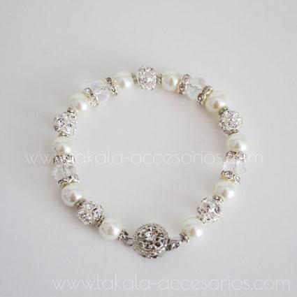 pulsera de novia de una vuelta con perlas, cristales y strass