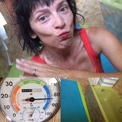 Kerstin Frei. Lebenskunst in der Lebensmitte. Hot Yoga im Bad am Morgen tut mir gut. Inneren Schweinehund überwinden. Stolz sein