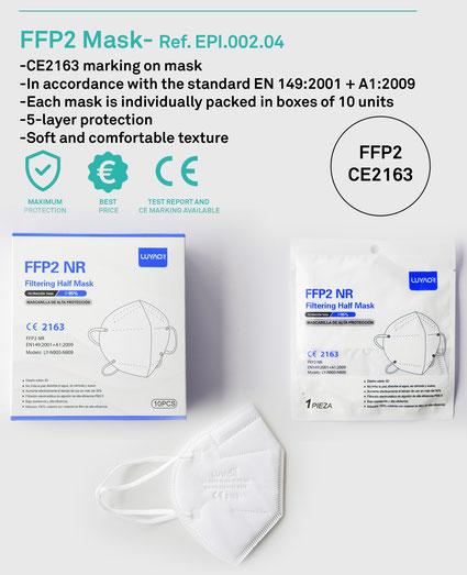 Zertifizierte FFP2 Masken - CE 2163, 10er Packung