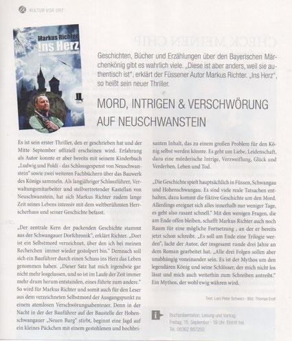 """Bericht zum neuen Buch """"Ins Herz - Neuschwanstein Thriller"""" im Magazin Füssen Aktuell - Ausgabe September 2017"""