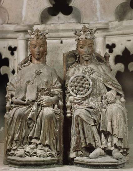 Thronendes Herrscherpaar um 1250. Magdeburger Dom. Heilig-Grab-Kapelle.