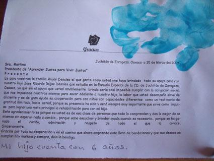 Foto: Brief der Familie Rojas Desales