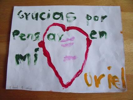 """Foto: """"Danke, dass an mich gedacht wird."""" Uriel, 9 Jahre"""