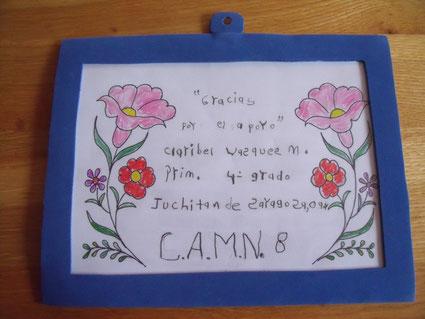 """Foto: """"Danke für die Unterstützung."""" Claribel Vazquez M., 4. Klasse"""