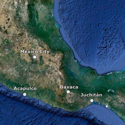 Juchitán liegt etwa 700 km süd-östlich von Méxiko Stadt entfernt.