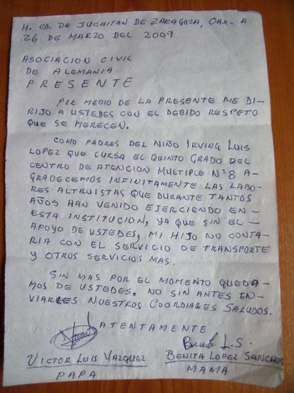 Foto: Brief an den Verein in Deutschland