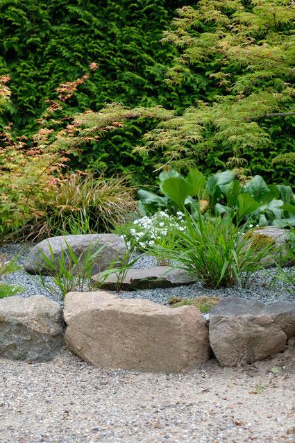 dieartigeGARTEN // Japanischer Bauerngarten - Natursteinkante mit Japan. Ahorn, Japangras, Seggen, Bergenien